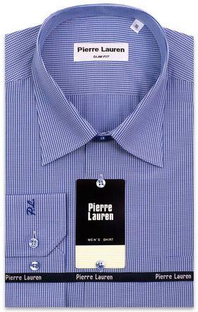 Приталенная классическая мужская рубашка в синюю клетку