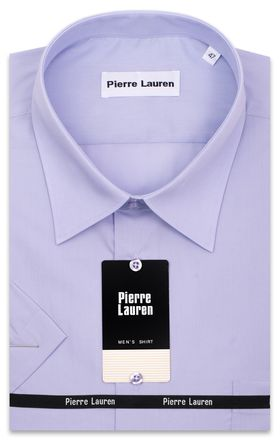 Сиреневая мужская рубашка больших размеров c коротким рукавом