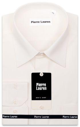 Классическая однотонная мужская рубашка с длинным рукавом цвета айвори