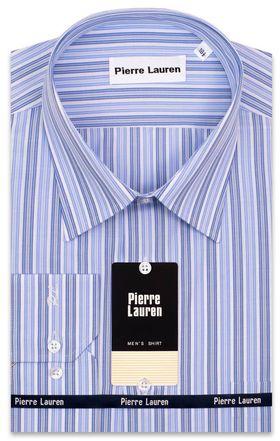 Приталенная классическая мужская рубашка в сине-голубую полоску