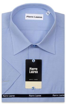 1167TSFK Приталенная мужская рубашка в голубую полоску с коротким рукавом