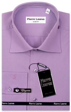 Однотонная сиреневая мужская рубашка
