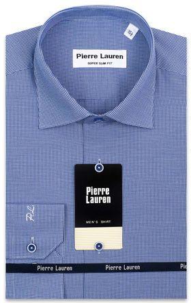 Мужская рубашка синего цвета из ткани с геометрическим узором