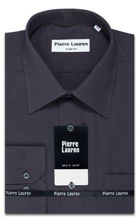 Классическая серая однотонная мужская рубашка Oxford