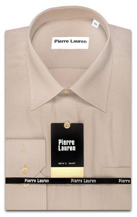 Рубашка для мужчин песочно-кремового цвета дополненная легкой полоской