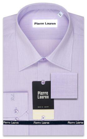 Сиреневая мужская рубашка Slim Fit (полуприталенная) из структурной ткани
