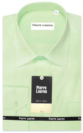 Красивая мужская рубашка Slim Fit (полуприталенная) нежно-салатового цвета
