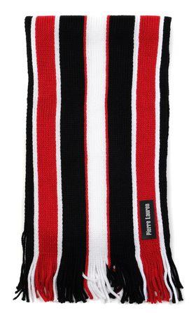 Вязаный мужской шарф из шерсти и акрила в красную и черную полоску
