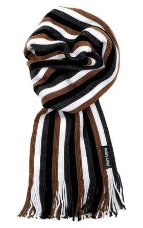 Вязаный шарф для мужчин из шерсти и акрила в коричневую полоску