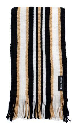 Вязаный шарф для мужчин из шерсти и акрила в бежевую полоску