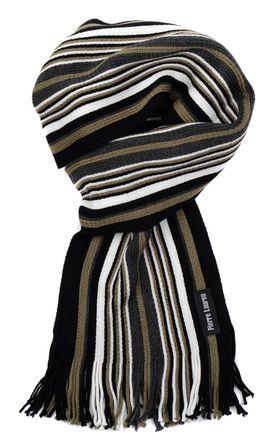 Вязаный шарф для мужчин из шерсти и акрила с зеленой полоской
