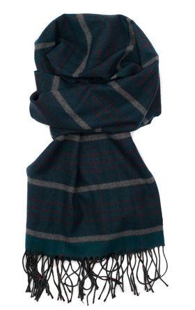 Полушерстяной мужской шарф из шерсти и вискозы зеленого цвета
