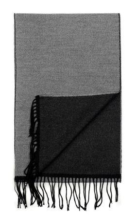 Серебристо-серый двухсторонний мужской шарф из шерсти и вискозы