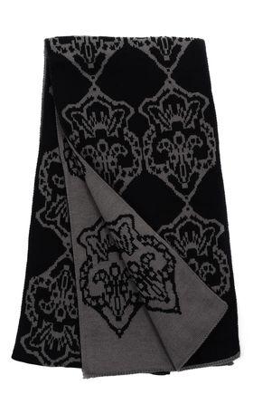 Вязаный мужской шарф из шерсти и акрила черного цвета с геометрическим узором