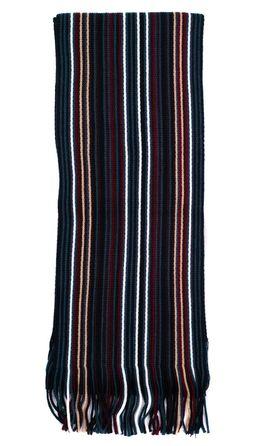 Вязаный мужской шарф из шерсти и акрила в бирюзовую полоску