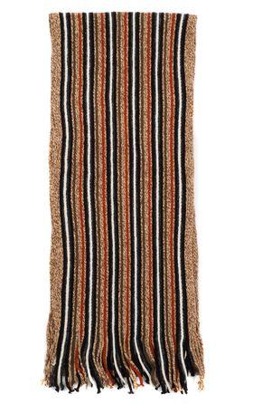 Вязаный мужской шарф из шерсти и акрила в светло-коричневую полоску