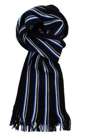 Вязаный мужской шарф из шерсти и акрила темно-синего цвета в белую полоску