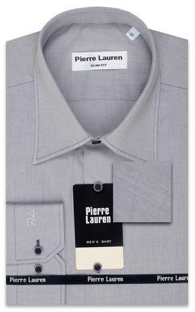 Серая мужская рубашка Slim Fit (полуприталенная) из структурной ткани