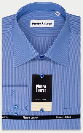 Синяя мужская рубашка в полоску приталенная Super Slim Fit
