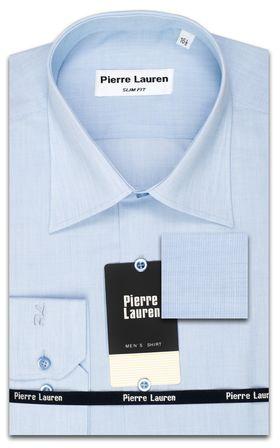 Мужская рубашка Slim Fit (полуприталенная) из структурной голубой ткани