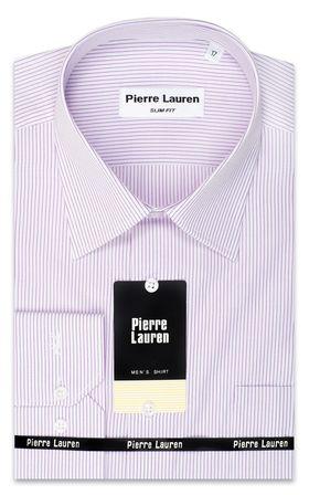 Красивая мужская рубашка Slim Fit (полуприталенная) в тонкую сиреневую полоску