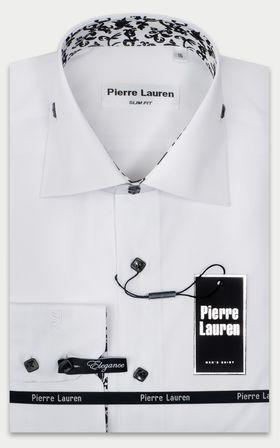 Белая мужская рубашка Elegance Slim Fit с узорным подкроем