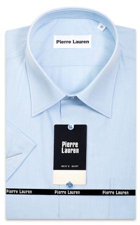 Голубая мужская рубашка больших размеров c коротким рукавом