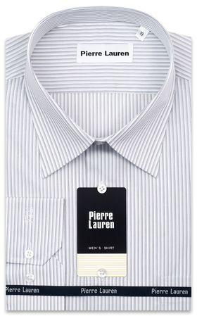 Классическая мужская рубашка больших размеров из 100% хлопка в серую полоску