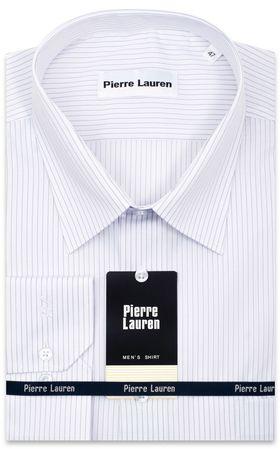 Приталенная классическая мужская рубашка белого цвета в тонкую серую полоску