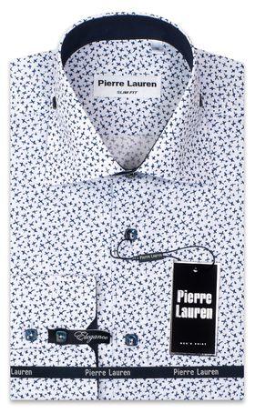 Белая мужская рубашка Elegance Slim Fit с синим принтом