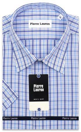 Красивая классическая (прямая) мужская рубашка в синюю клетку с коротким рукавом