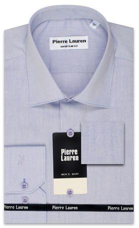 Синяя мужская рубашка Super Slim Fit (зауженная с вытачками на спине) из структурной ткани