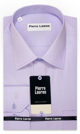 Сиреневая однотонная мужская рубашка больших размеров